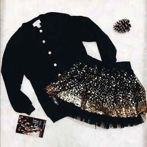 Talbots black button down sweater size petites.